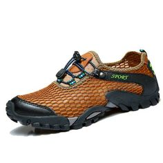 Fashion Men Lycra Mesh Breathable Outdoor Shock Absorption Hiking Shoes - NewChic Mobile.