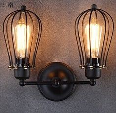 Industrial Wall Lamp Vintage Wall Light Retro Luminaire Cage Wall Lights For Home Lighting Applique Murale Lamparas De Pared Luz Rustic Wall Sconces, Rustic Lamps, Candle Wall Sconces, Wall Sconce Lighting, Pendant Lighting, Modern Sconces, Bedside Lighting, House Lighting, Bathroom Lighting