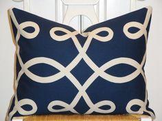 "Navy Scroll Lumbar Pillow Cover 14"" x 18"" $39"