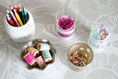 Glamming up everyday items as decorative office storage
