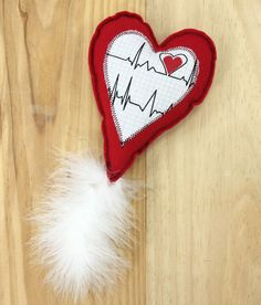 Heart Cat toy Felt cat toy Valentine heart cat toy by MauveMoose