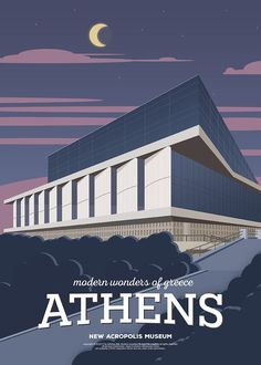 The New Acropolis Museum, Athens (Greece). Vintage Illustrated Travel Poster / FNK