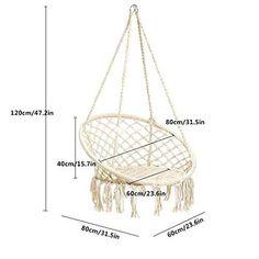 E EVERKING Macrame Swing Hammock Chair White Macrame hammock rocking chair with wooden floor - handmade in Nicaragua - Adelisa & Co. Our handmade macrame swings for children not only Macrame Hanging Chair, Macrame Chairs, Hanging Hammock, Diy Hanging, Diy Hammock, Hammock Swing Chair, Swinging Chair, Swing Design, Patterned Chair