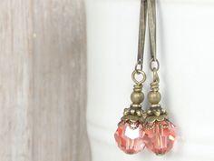 Rose Peach Earrings Swarovski Crystal Jewelry Beaded Earrings Vintage Style Earrings Antique Brass Jewelry Vintage Inspired