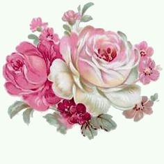 So Sweet Pink Ivory Rose Bunches Shabby Waterslide Decals Art Floral, Vintage Rosen, Vintage Diy, Images Vintage, Vintage Pictures, Image Fleur Rose, Tea Roses, Pink Roses, Pink Flowers