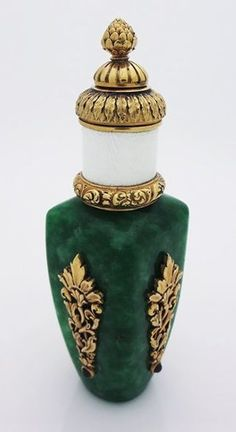 Antique Russian silver & jade perfume scent bottle