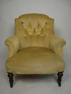 a victorian button back nursing chair - photo angle Nursing Chair, Victorian Furniture, Antiques For Sale, Tub Chair, Chair Design, Armchair, Upholstery, Living Room, Palm