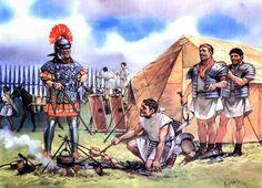 Roman legion in camp during Caesar's campaign in Gaul
