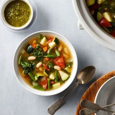 Make a big batch of low-calorie veggie-packed soup with ease in this load-and-go crock pot recipe. After simmering away in the slow cooker, portion it into individual serving containers and store in the fridge or freezer for fast, healthy lunches or an easy, satisfying snack. This weight-loss vegetable soup fills you up without a lot of calories, plus it's an easy way to eat more vegetables.