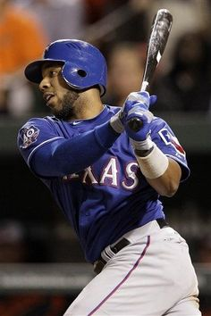 Texas Rangers' Elvis Andrus singles in the seventh inning of the second baseball game of a doubleheader against the Baltimore Orioles in Baltimore, Thursday, May 10, 2012. Mitch Moreland scored on the play. Texas won 7-3. (AP Photo/Patrick Semansky) game 32