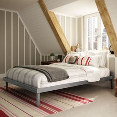 Amisco Attic Platform Bed - With the merest wisp of a headboard and no need for a box spring, the Amisco Attic Platform Bed is ideal for alcoves, lofts, and other awesome...