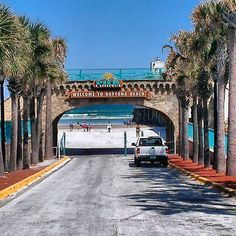 Daytona Beach is unique in that you can drive the beach in your car.  You can park on the beach and spend the day!