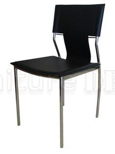 Dining chair, black leatherette with chrome legs (set of 4)