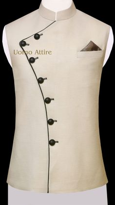 Get customized mens stylish waistcoat for your mehndi occasion, Exclusive designs of awami waistcoats in Jamawar & Tropical fabric available at Uomo Attire-Luxury Bespoke Menswear.