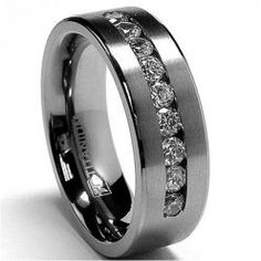 Mens Titanium Wedding Rings - he likes this one too