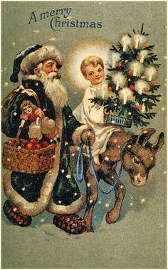 Vintage New Year's en kerstkaarten. Parttime 10 - Borst