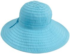San Diego Hat Company Women s Ribbon Large Brim Hat  Floppy hat in tiered  ribbon stripes featuring flat ribbon bow at band UPF sun protection 6f9eb576fd2a