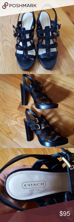 """Coach Alie Semi matte calf heels Authentic Coach leather heels, black, 4"""" heel with 3/4"""" platform. Only worn a few times. Great condition. Shoes Sandals"""