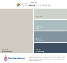 I found these colors with ColorSnap® Visualizer for iPhone by Sherwin-Williams: Agreeable Gray (SW Sea Salt (SW Rain (SW Poolhouse (SW Indigo Batik (SW Paint Color Schemes, House Color Schemes, Room Paint Colors, Exterior Paint Colors, Paint Colors For Home, House Colors, Exterior Design, Sherwin Williams Gray, Sherwin Williams Agreeable Gray