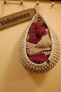 crocheted basket from tshirt yarn. yes yes yes--door storage for winter gear or dirty washcloths/hand towels?