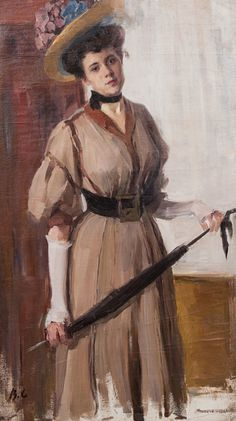 Woman with Umbrella (Valentin Serov - russian painter- No dates listed)  by The Athenaeum