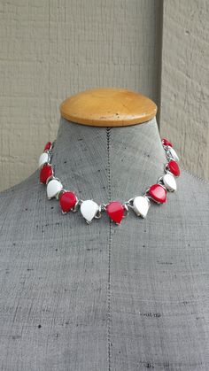 Vintage Spectator Red & White Lucite Teardrop Silver Tone Metal Link Adjustable Collar Choker Necklace Summer Jewelry Jewellery by TheFoxandFilly on Etsy