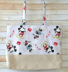 Mickey Mouse Minnie Mouse Vintage Print Tote by LittleMissPoBean
