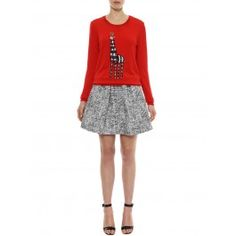 Markus Lupfer - Masai Red Natalie Tribal Giraffe Embellished Cotton Sweater