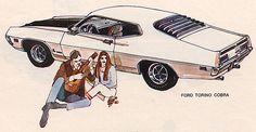 Ford Torino Cobra. Art by Bill Klemm