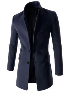 Mens Slim Notched Lapel Single Breasted Leather Patched 2 Button Coat