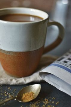 Half glazed terracotta mug