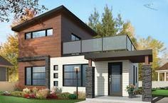 Plano de casa moderna con 86 mts2 y 2 dormitorios