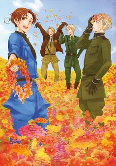 Hetalia- Italy, America, England, Germany I would love running in that field! :3 so many flowers!