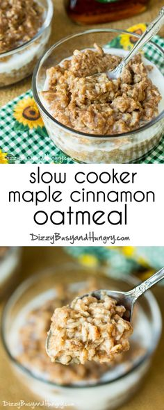 Slow Cooker Cinnamon Maple Oatmeal | DizzyBusyandHungry.com - Make this oatmeal ahead of time and store in single-serve containers for a quick, hearty breakfast!