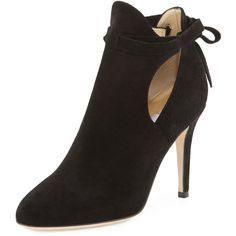 Jimmy Choo Marina Suede Cutout Bootie ($1,010) ❤ liked on Polyvore featuring shoes, boots, ankle booties, black, black ankle booties, high heel booties, black boots, black bootie and short black boots
