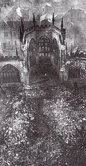 Coventry Cathedral in ruins after the raid of 14 November 1940