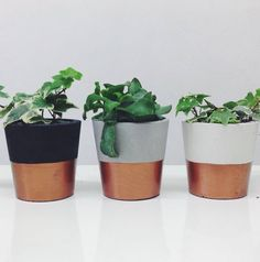 copper dipped cement plant pot by sort | notonthehighstreet.com