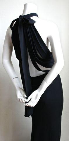 YVES SAINT LAURENT edition soir black silk evening gown with unique back