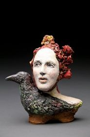 red - woman with bird - ceramic -  sculpture - Debra Fritts
