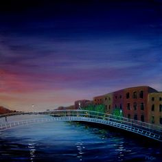 Evening Reflections Dublin – Large Original Oil Painting: ART: This atmospheric and unique oil Painting was inspired by an… #IrishArt