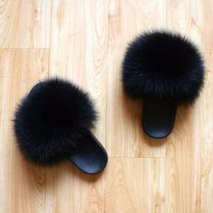 Fur Slides, Fox Fur, Night Life, Slippers, Slipper, Flip Flops, Sandal