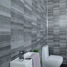 Claddtech Dark grey bathroom wall panels splashbacks - small tile effect - cladding panels splashbacks kitchen shower Waterproof-By Panel Pack) Bathroom Tile Designs, Bathroom Cladding, Bathroom Wall Cladding, Kitchen Design Open, Tile Cladding, Gray Bathroom Walls, Bathroom Wall Panels, Small Tiles, Bathroom Paneling