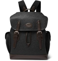 MULBERRY HERITAGE LEATHER-TRIMMED PEBBLE-GRAIN COATED-CANVAS BACKPACK.   mulberry  bags   6b63b46af4608