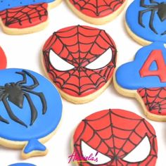 Cooking Chicken In The Oven - Home Cooking Design - Mom Cooking Illustration - Cooking Techniques Videos How To Make - Cooking Recipes - Passion Cooking Quotes Iced Cookies, Cute Cookies, Cookies Et Biscuits, Cupcake Cookies, Decorated Sugar Cookies, Spiderman Cookies, Spiderman Cupcake Toppers, Superhero Cookies, Spiderman Spiderman