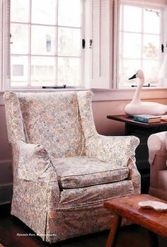 Hyannis Port: later shutters replaced the chintz curtain in the living room Kennedy Compound, Hyannis Port, Best Mother, She Was Beautiful, Jfk, Wingback Chair, Shutters, Accent Chairs, Homes