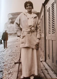 Coco Chanel in an ensemble designed by her, shortly before WWI