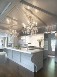 unique ceiling, 'room length' range hood  those amazing islands & chandeliers♥♥ | You COOK in here?   ~KITCHENS~