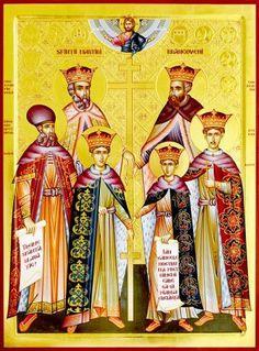 Sfinții Martiri Brâncoveni, Constantin Vodă cu cei patru f Russian Icons, Romania, Folk, Painting, Sf, Saints, Painting Art, Forks, Paintings