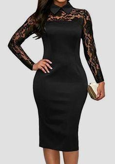 Black Patchwork Lace Turndown Collar Slim Elegant Office Worker Midi Dress. Women s  Fashion ... e9b554bb7ce7