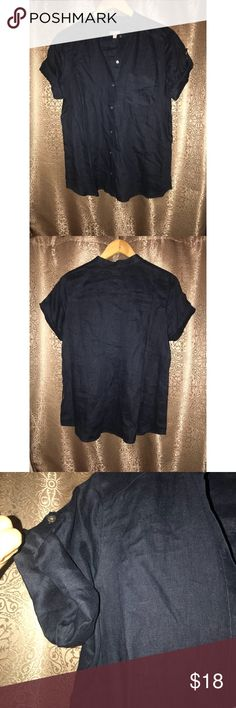 J. Jill Linen Button Front Navy Size Small Pre-owned, in excellent condition. J. Jill button front. 100% linen. One front pocket. Made in China. Size small. Cuffed sleeves. J. Jill Tops Button Down Shirts